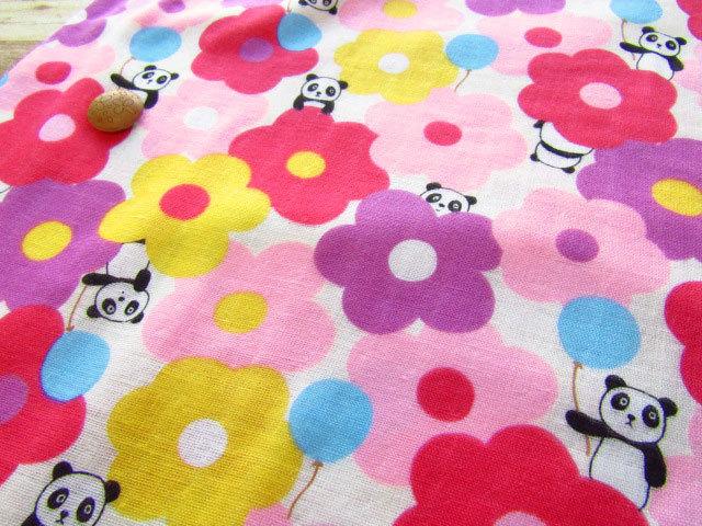 【約54cm幅×約50cmカット*ミニカットクロス】『ふわふわお花とパンダちゃん♪』ピンク【ふんわりダブルガーゼ】