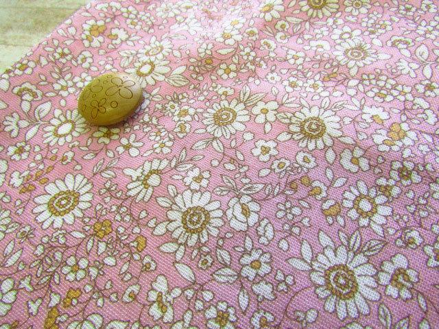 【約55cm幅×約50cmカット*ミニカットクロス】『ホワイト フラワー』ピンク【ふんわりWガーゼ】