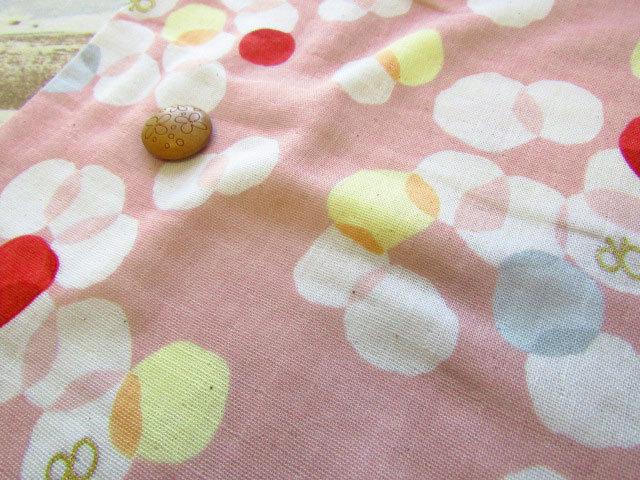 【約52cm幅×約50cmカット*ミニカットクロス】『サニー バタフライ 』ピンク【ふんわりWガーゼ】