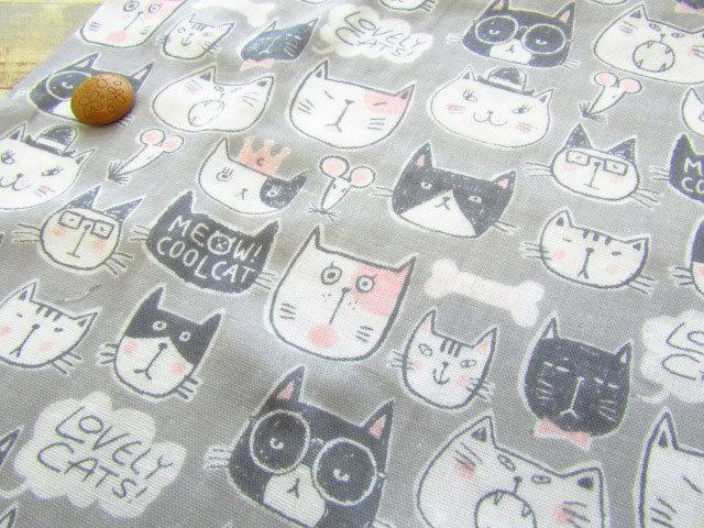 【約55cm幅×約50cmカット*ミニカットクロス】『MEOW!COOL CAT( ニャー!クールキャット )』グレー【ふんわり ダブルガーゼプリント】