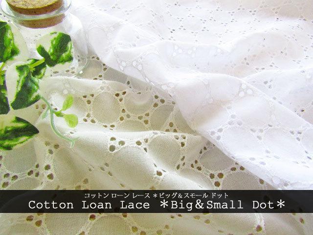 【コットン ローン  レース】 [ Big&Small Dot ( ビッグ & スモール ドット)  ]