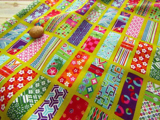 【約53cm幅×約50cmカット*ミニカットクロス】『Colorful 和 Japan 『 着物 』』ひわいろ【コットン スケアプリント】