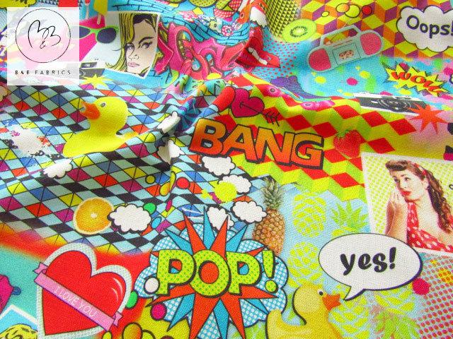 ≪B&B FABRICS≫ 輸入生地 ワイド幅 コットン 『 POP☆ポップ 』 カラフル