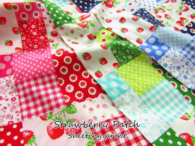 【コットン シーチングプリント】 Strawberry Patch*ストロベリー パッチ