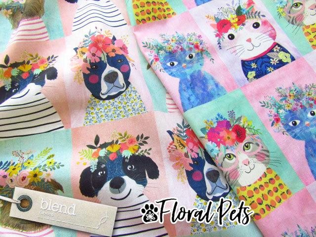 【パネル柄】 blend fabric 『 Floral Pets 』 【コットン】