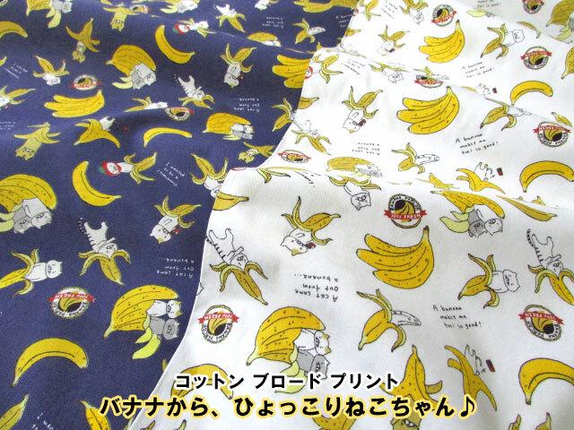 【 コットン ブロード プリント 】 バナナから、ひょっこりねこちゃん♪