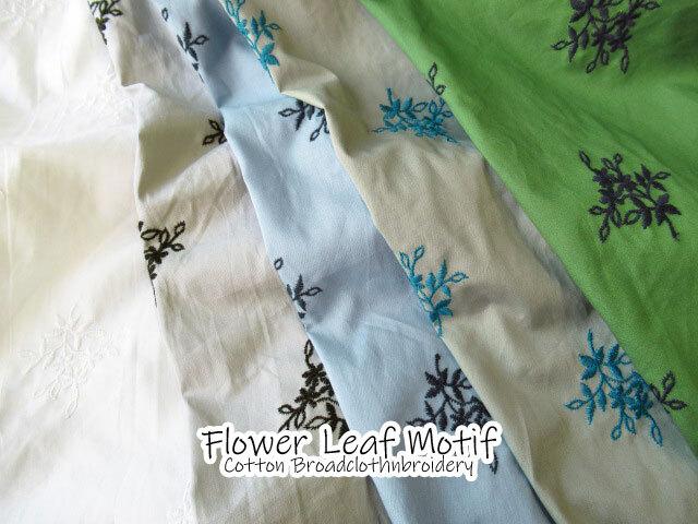 【コットン ブロード刺繍 】 フラワーリーフモチーフ