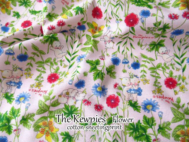 【コットン シーチング】The Kewpies◇ Flower(ザ キューピーズ フラワー) ピンク