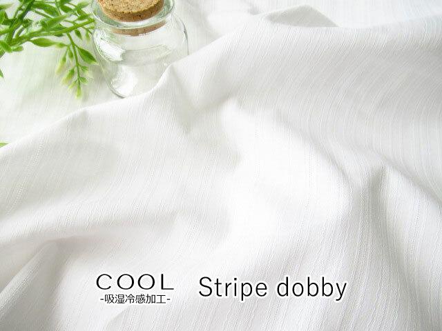 再入荷!【コットン】 COOL-吸湿冷感加工- ストライプ ドビー オフホワイト