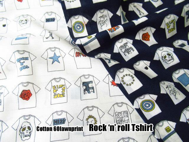 【コットン 60ローンプリント】 ロックンロール Tシャツ