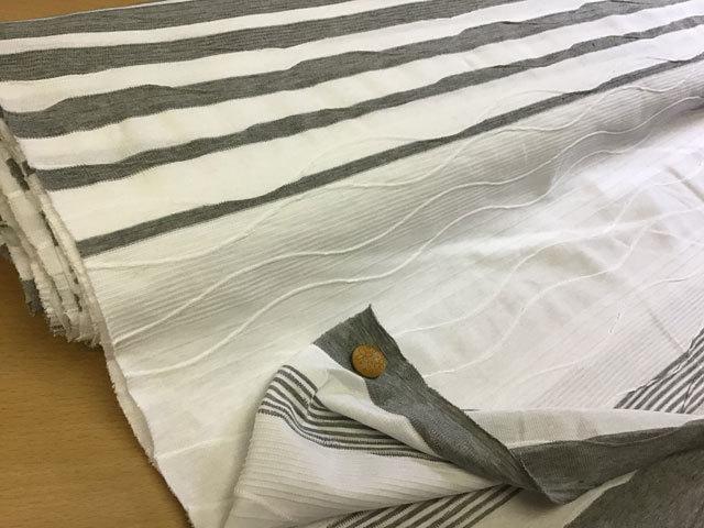 【反売り】 変わり織り ボーダーパネル柄 ホワイト×グレー[ 幅170cm×約5m巻 ]