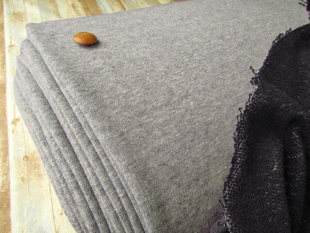 【反売り】ややざっくり裏毛ニット 杢グレー×ブラック系[ 幅158cm×約10m巻 ]