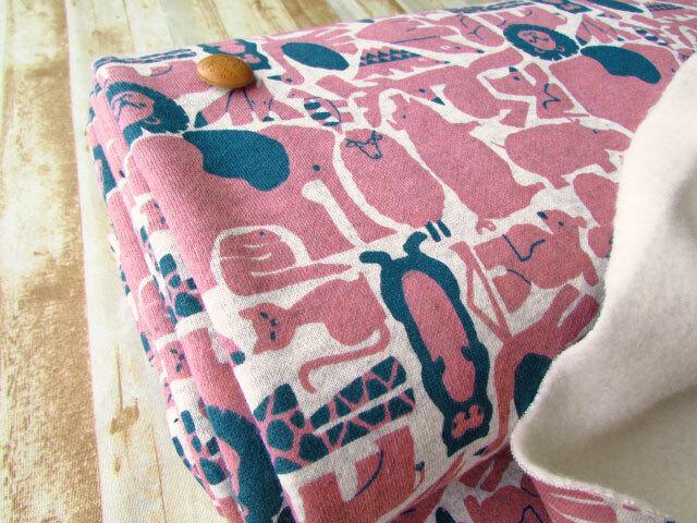 【反売り】アニマル裏起毛ニット 杢グレー×スモーキーピンク系[ 幅154cm×3m巻 ]