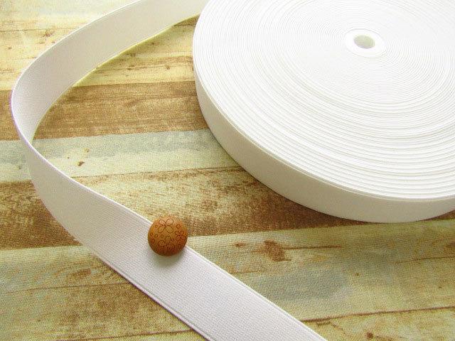 現品処分! 〈縫製工場放出品〉  約3cm幅 『 ハードゴム 〈ホワイト〉』 約30m巻