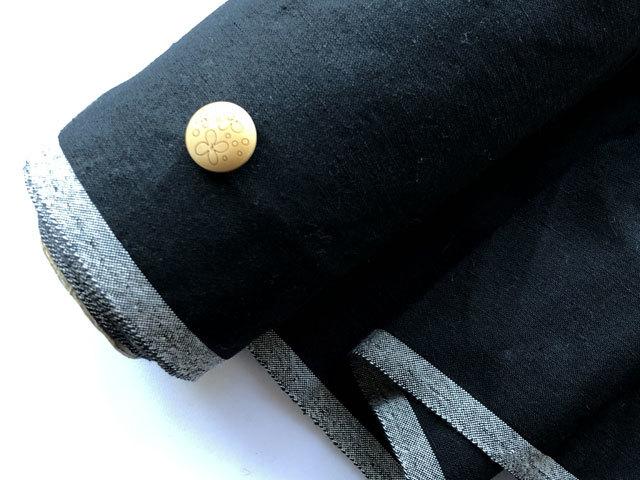 【反売り】 やや張りあり、ウールキャンバス ブラック[ 幅150cm×約7.5m巻 ]