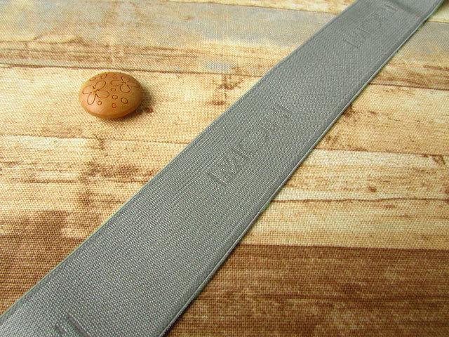 お買い得! 巾約3cm 『ロゴ入りゴム』グレー系  約5mカット
