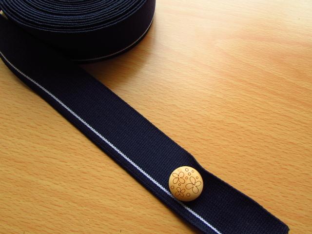 現品処分!3cm幅平ゴム〈ネイビーのホワイトライン〉 約5mカット