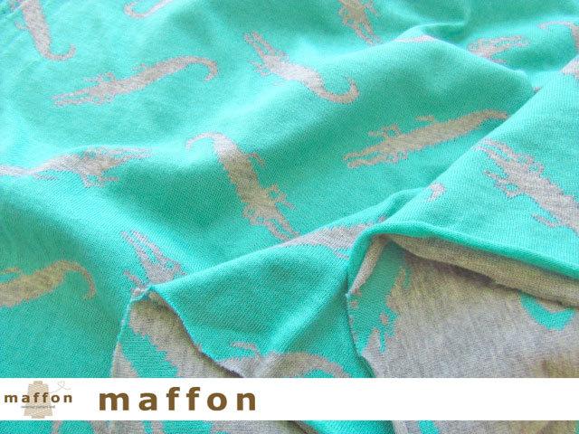 【 maffon (マフォン) 】 約75cm幅 リバーシブルジャガード接結ニット 『 ワニ柄 』 杢グレー/エメラルド