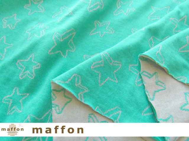 【 maffon (マフォン) 】 約75cm幅 リバーシブルジャガード接結ニット 『 クッキースター柄 』 エメラルド/シルバーグレー