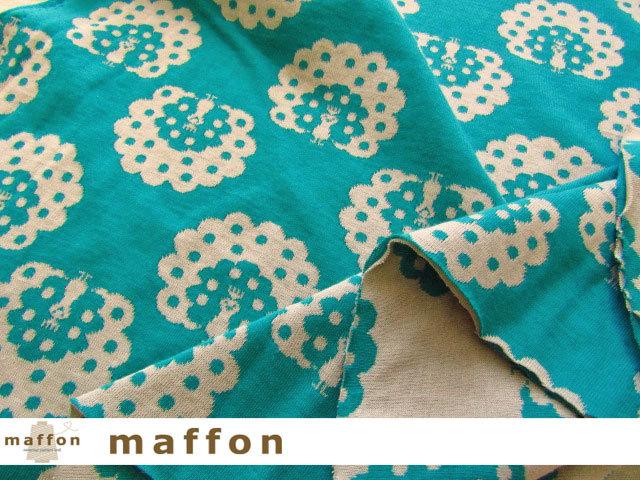 【 maffon (マフォン) 】 約75cm幅 リバーシブルジャガード接結ニット 『 くじゃく柄 』 ピーコック/くるみ