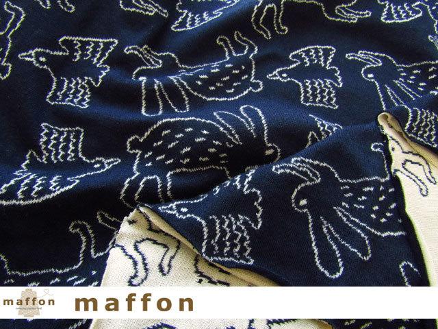 【 maffon (マフォン) 】 約75cm幅 リバーシブルジャガード接結ニット 『 うさぎととり柄 』 ネイビー/クリーム