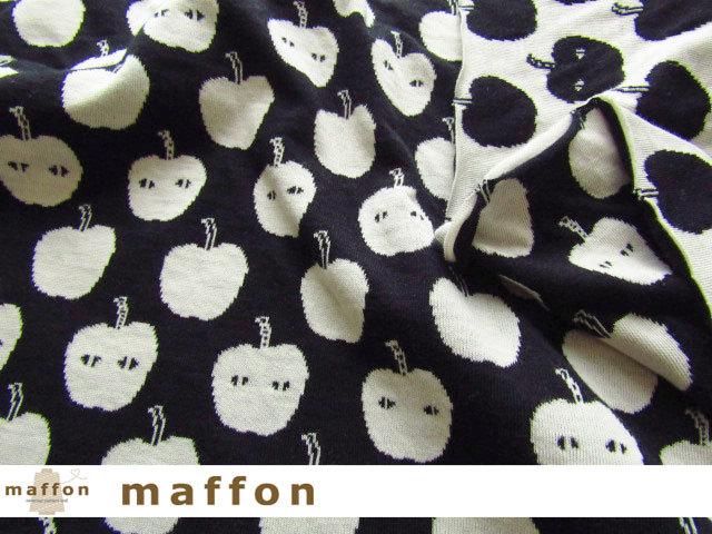 【 maffon (マフォン) 】 約75cm幅 リバーシブルジャガード接結ニット 『 アップルアタック柄 』 黒/アイボリー