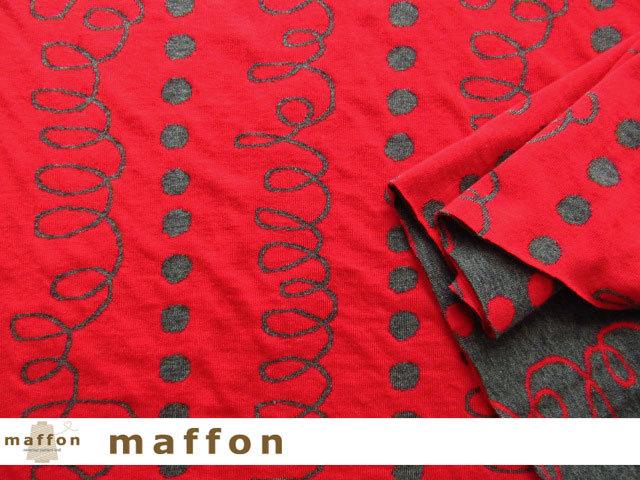 【 maffon (マフォン) 】 約75cm幅 リバーシブルジャガード接結ニット 『 らせんドット柄 』 ダーク杢グレー/レッド