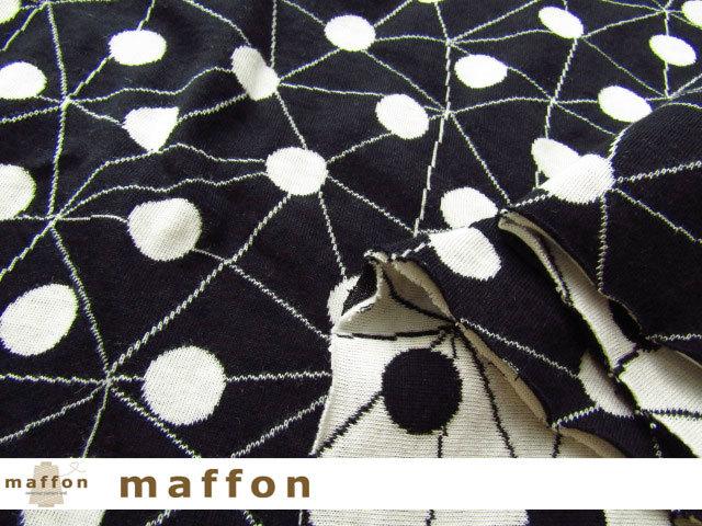 【 maffon (マフォン) 】 約75cm幅 リバーシブルジャガード接結ニット 『 モザイクドット柄 』 黒/アイボリー