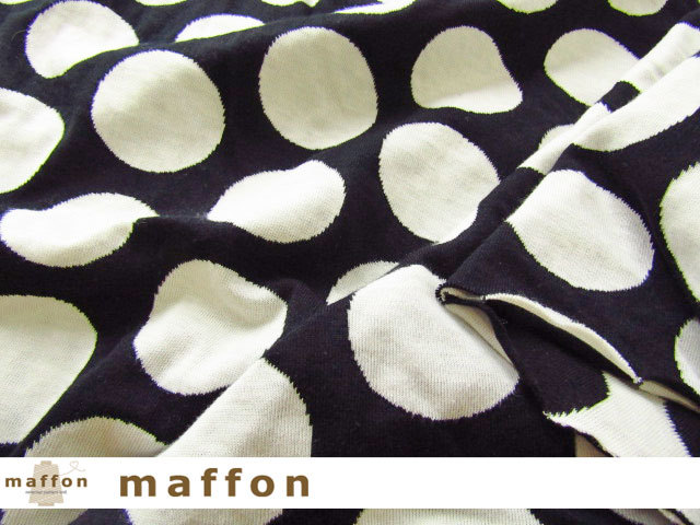 【 maffon (マフォン) 】 約75cm幅 リバーシブルジャガード接結ニット 『 ポルカドット柄 』 黒/アイボリー