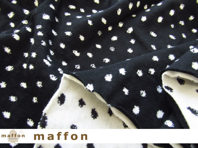 【 maffon (マフォン) 】 約75cm幅 リバーシブルジャガード接結ニット 『 ペイントドット柄 』  黒/アイボリー