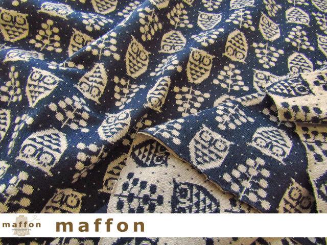 【 maffon (マフォン) 】 約75cm幅 リバーシブルジャガード接結ニット 『 ミニふくろう柄 』  ネイビー/ベージュ