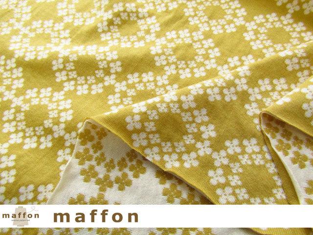 【 maffon (マフォン) 】2回目の再入荷! 約75cm幅 リバーシブルジャガード接結ニット 『 フラワーリング柄』 ミモザ/アイボリー
