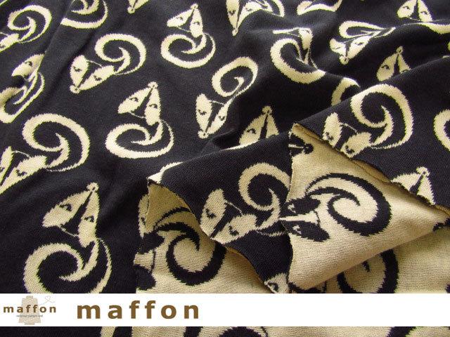【 maffon (マフォン) 】 約75cm幅 リバーシブルジャガード接結ニット 『 スカンク柄 』  ダークチャコール/イエローベージュ