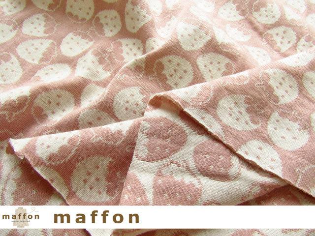 【 maffon (マフォン) 】 約75cm幅 リバーシブルジャガード接結ニット 『 いちご柄 』  パールピーチ/アイボリー