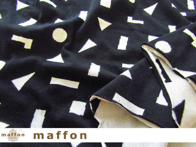 【 maffon (マフォン) 】 約75cm幅 リバーシブルジャガード接結ニット 『 つみき柄 』  黒/アイボリー