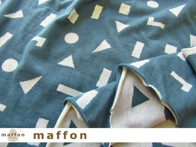 【 maffon (マフォン) 】 約75cm幅 リバーシブルジャガード接結ニット 『 つみき柄 』  アイアングリーン/アイボリー