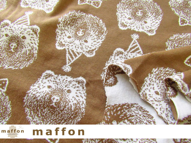 【 maffon (マフォン) 】 約75cm幅 リバーシブルジャガード接結ニット 『 グリズリーベア柄 』  メイプル/アイボリー