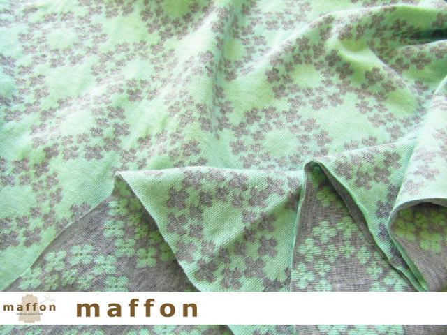 【 maffon (マフォン) 】 約75cm幅 リバーシブルジャガード接結ニット 『 フラワーリング柄』 杢グレー/ミント