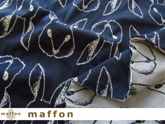 【 maffon (マフォン) 】 約75cm幅 リバーシブルジャガード接結ニット 『 おすましうさぎ柄 』  ネイビー/アッシュ