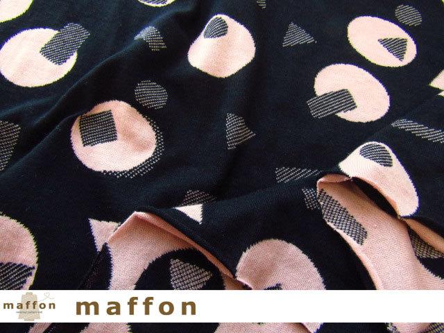【 maffon (マフォン) 】 約75cm幅 リバーシブルジャガード接結ニット 『 ピチカート柄 』  黒/コーラルピンク