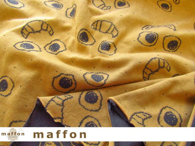 【 maffon (マフォン) 】 約75cm幅 リバーシブルジャガード接結ニット 『 サニーサイドアップ柄 』  チャコール/コルク