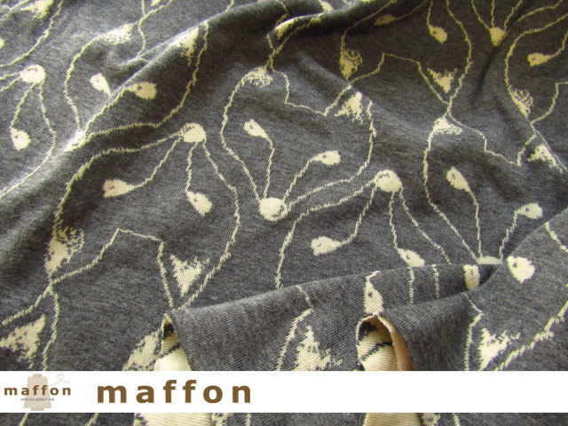 【 maffon (マフォン) 】 約75cm幅 リバーシブルジャガード接結ニット 『 きつね柄 』  ダーク杢グレー/イエローベージュ