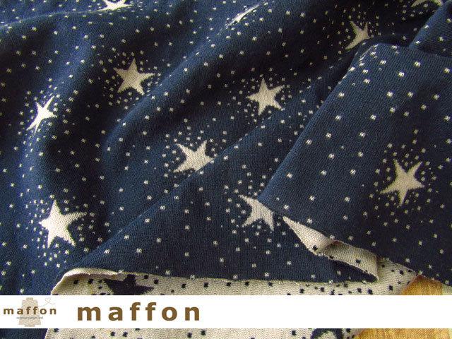 【 maffon (マフォン) 】 約75cm幅 リバーシブルジャガード接結ニット 『 トゥインクルスター柄 』  ネイビー/ベージュ