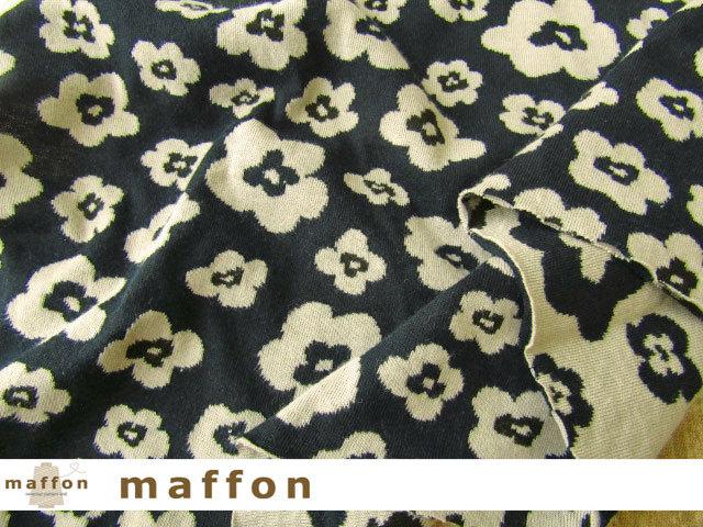 【 maffon (マフォン) 】 約75cm幅 リバーシブルジャガード接結ニット 『 マグノリア柄 』  黒/ベージュ