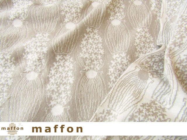 【 maffon (マフォン) 】 約75cm幅 リバーシブルジャガード接結ニット 『 ヒヤシンス柄 』  ベージュ/アイボリー