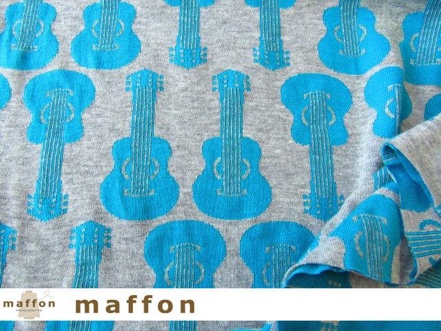 【 maffon (マフォン) 】 約75cm幅 リバーシブルジャガード接結ニット 『 ギター柄 』  杢グレー/ターコイズ