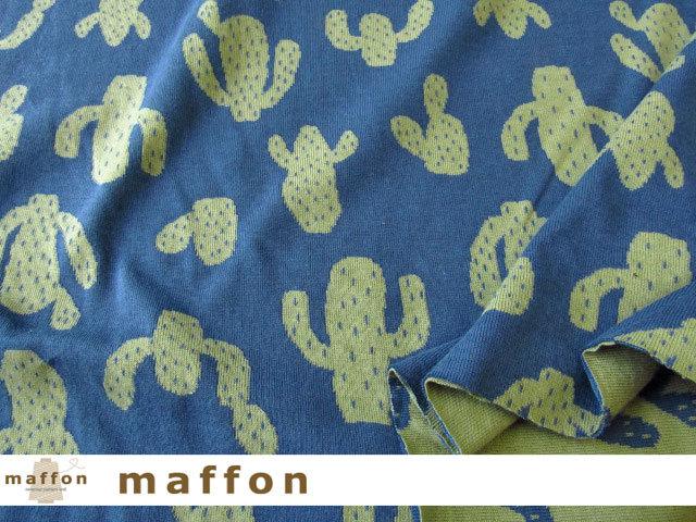 【 maffon (マフォン) 】 約75cm幅 リバーシブルジャガード接結ニット 『 サボテン柄 』  ダルブルー/グラスグリーン