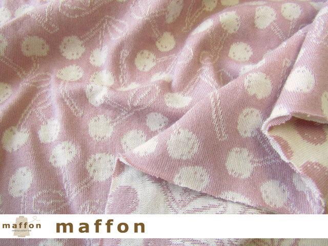 【 maffon (マフォン) 】 約75cm幅 リバーシブルジャガード接結ニット 『 チェリーズ柄 』  フレンチローズ/アイボリー