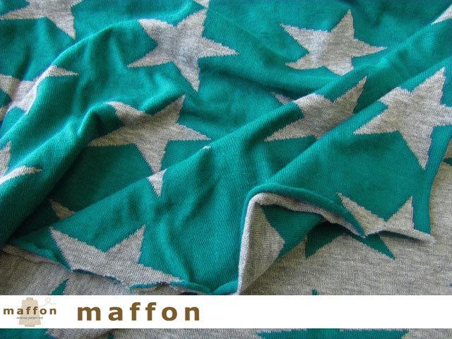 【 maffon (マフォン) 】 約75cm幅 リバーシブルジャガード接結ニット 『 スラントスター柄 』  杢グレー/ピーコック