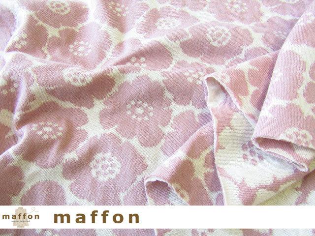【 maffon (マフォン) 】 約75cm幅 リバーシブルジャガード接結ニット 『 ミニアネモネ柄 』  フレンチローズ/アイボリー